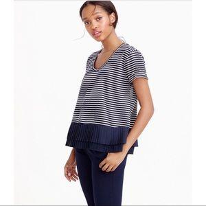 J.Crew Pleated Chiffon-hem Striped T-shirt
